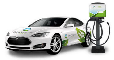 One of Sun Country Highway Electric Vehicle Charging Stations beside their Tesla Model S